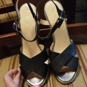 Cole Haan black leather wedge sandals